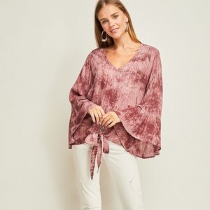 Flare Sleeve V Neck tie Front Blouse